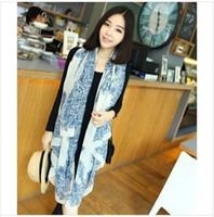 Wholesale 100pcs Silk scarf women Lady spring autumn totem Blue and white porcelain printing scarves wraps DHL