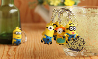 Wholesale 3D Despicable Me Minion Action Figure Keychain Couple Keyring Key Ring Favors Cute Gifts CARD Package