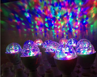 Wholesale 2013 Hot W E27 RGB Full Color LED Crystal Stage Light DHL free Voice activated Rotating Stage Light DJ Lamp Light Bulb best2011