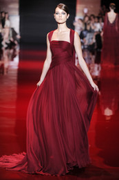 Wholesale London Fashion Week Elie Saab Srping and Autumn Series Red Spaghetti strap Sweep train Chiffon Formal evening dress