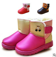Winter Mid-Calf pu Wholesale - sale of detonation money children's candy color tube Velcro ugg boots children fleece warm ugg boots 1 pack 1 set of 6 double si