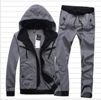 sweatsuits - Good quality spring new casual a set fashion sports wear for men s gym suits cotton leisure pants hoodies sweatsuits