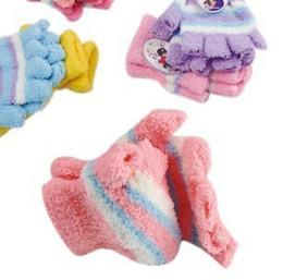 Wholesale coral fleece Striped Mittens kids Winter gloves children s half finger gloves pairs