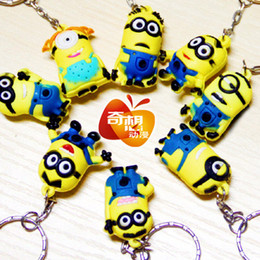 Wholesale 3D Despicable Me Minion Action Figure Keychain Keyring Key Ring Cute Gifts CARD Package HK Tracking Number