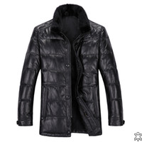 Wholesale 2013 Winter Warm Pure Color Mink Hair Stand Collar Full Sleeve Ruling Plaid Single Breasted Zipper Genuine Sheep Leather Down Coat For Men