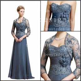 Wholesale Elegant grey chiffon sweetheart sequins lace floor length A line mother of the bride dresses with little lace bolero