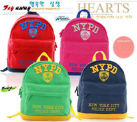 Wholesale Cute D Embroidery NYPD Canvas Daypack for Kids Cop Police Rucksack Backpack boy NYPD school bag