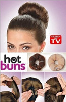 Wholesale Magic Brown Beige DIY Retail Pure Handwork Knitted Nylon Button Hot Buns Hair Donut Maker