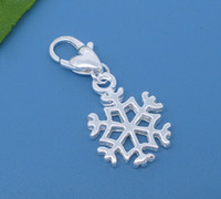 Wholesale 100pcs Silver Plated Clip On Snowflake Charms Fits Link Chain Bracelet x14mm