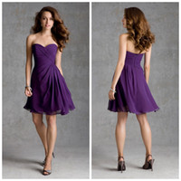 Model Pictures Ruched Sleeveless 2014 New Arrival Discounted New Ruched Sweetheart Mini Short Purple Lady's Bridesmaid Dresses Social Occassion Formal Party Gown
