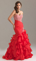 Wholesale 2014 New Prom Gowns Sexy Mermaid Sleeveless Sweatheart Sweep Chiffon Prom Dresses Rhinestone Fold Gown in stock