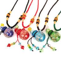 Wholesale Luminous Color Aromatherapy Essential Oil Bottle Glass Pendant Necklace Women Favors DC662