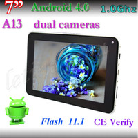 7 inch Single Core Android 4.0 Super slim 7 Inch allwinner A13 Tablet PC Dual Camera 512MB 4GB android 4.0 OS 800 x 480 Capacitive tablet pc big discount