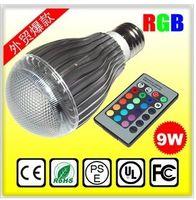 Wholesale 9W AC V E27 LED RGB Light Bulb Colorful Million Colors table Lamp Remote Control