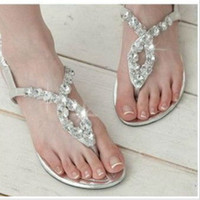 Wholesale Women s Sandals Summer Beach Flip Flops Lady Slippers Sandals for Women Diamand Cross Flat Shoes Women WS003