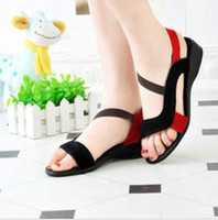 Wholesale black sandals women s shoes open toe wedges genuine leather new style fashion flat heel sandals
