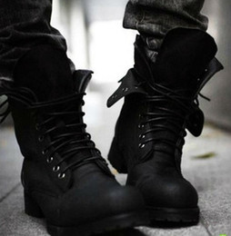 Wholesale Retro Combat boots Winter England style fashionable Men s short Black shoes Hot LS034