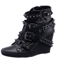 Rivet Boots ash shoes - New Arrival ASH Boots Black Leather Rivet Belt Buckle Wedge Women Shoes