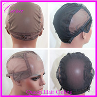 Wholesale wig caps for making wigs only stretch lace weaving cap adjustable straps back brown black high quality guarantee