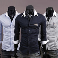 Men Silk Long Sleeve NEW Men's casual Slim long Sleeve Shirts Men's Hangers embroidery shirt Dress Shirts For Men Business Shirts 8902