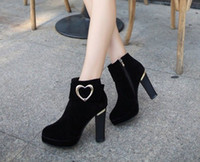 Wholesale latest styles black color Velveteen Leather Shoes Women s Coarse high heels Dress Ankle boots Ladies banquet Boots