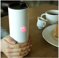 Wholesale Touching Love Heat cup induction stainless steel cap couple emotional lovely heartea cup MOQ EMS freeshipping