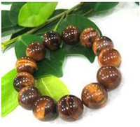Wholesale Natural stone Tiger Eye Semi precious Stone Clear Rhinestone Bracelet
