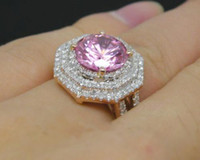 Wholesale Solid Kt Rose Gold ct Diamond Pink Tourmaline Jewelry Wedding Ring T018