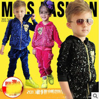 Wholesale New Childrens Unisex Hooded Set Fashion Sequins Pleuche Casual Soft Set Zipper Jacket And Pants Pieces Set