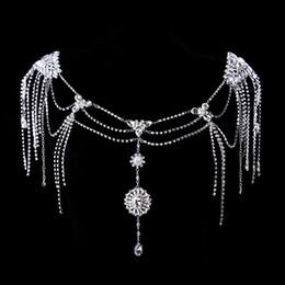 Wholesale Vintage Crystal Diamond Big Necklace Earrings Set Shoulder Chain Shawl Bride Princess Royal Ornate Wedding Party Bridal Dress Accessories