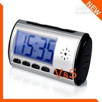 Wholesale New Digital Alarm Clock Mini Spy DV DVR Motion detection Hidden Camera Remote Control SC51BP