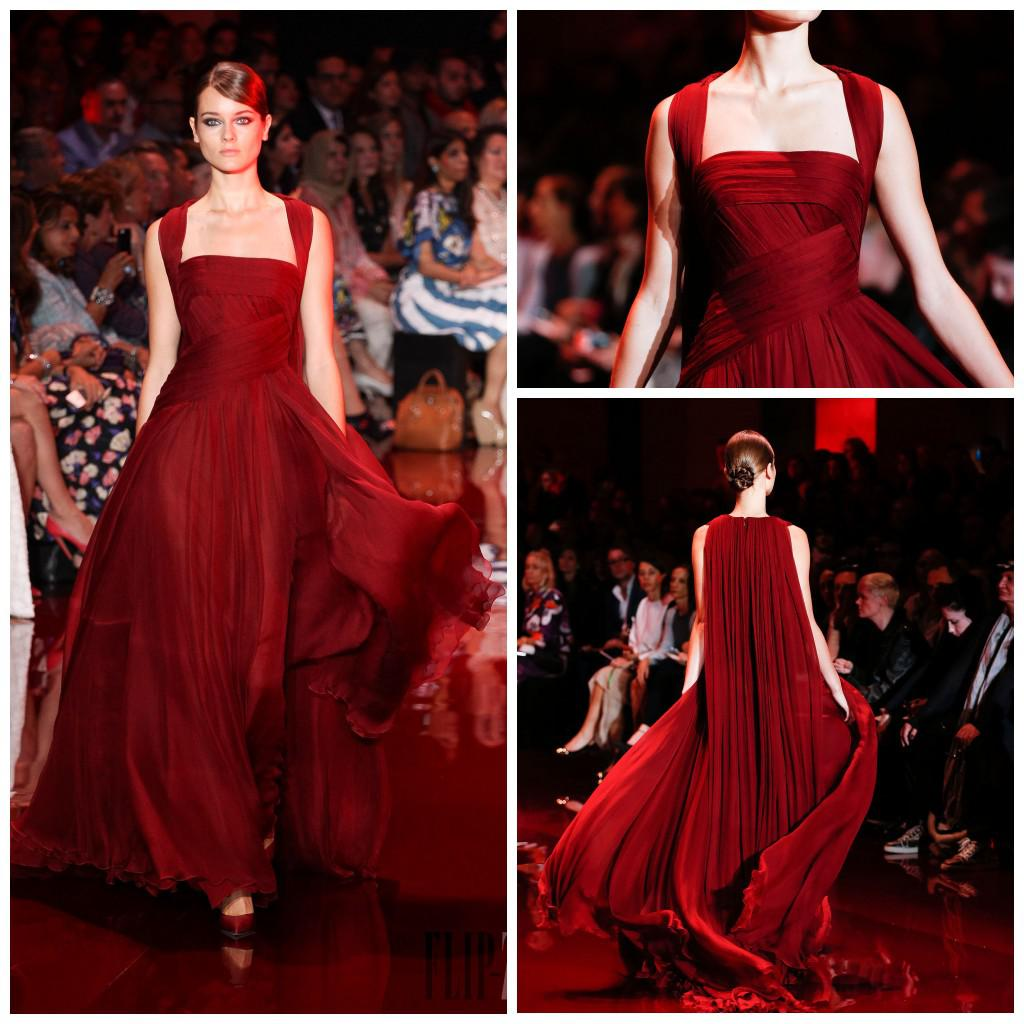 2014 Elie Saab Red Carpet Straps A Line Full Length Burgundy Sexy ...