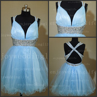 Wholesale 2013 Sexy New Halter Light Sky Blue Tulle Mini Homecoming Dresses Rhinestones Beaded Backless Cocktail Gown B01389