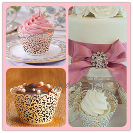 Wholesale Lace Cupcake Wrapper Laser Cut Wedding Shower Cupcake Wrapper favors with high quality pearl paper