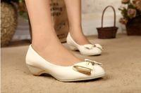 Office Shoes For Women - Ellen Bow Ballerina Work Shoes Pair