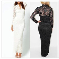 Wholesale Fashion Ladies Sexy V Neck Slim Scallop Neck Lace Women Maxi Dress Long Sleeve White Black S XL with tracking number