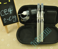 Double Multi non DHL free eGo CE4 Electronic Cigarette kits E Cigarette 650mah 900mah 1100mah with Zipper case 2 Atomizer 2 Battery Various colors