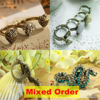 brass knuckles rings - Vintage Love Flower Multiple Holes Combine Fingers Fist Ring Knuckle Brass Style Rings FR304