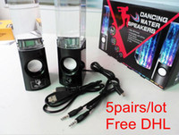 2 Universal Computer Portable Mini USB LED Light 3.5mm Dancing Water Fountain Speaker Music Subwoofer for Iphone 4S 5S Samsung S5 Sony HTC LG Tablet PC Mp3 PSP