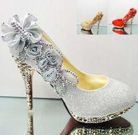 Wedding Pumps High Heel Best Sparkling Flowers Diamond Wedding Women's Dress Shoes 2014 Pink Gold Bride Bridesmaid 10CM High Heels Party Prom Shoes