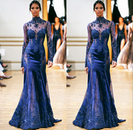 Luxury! Royal Blue Sexy See Through High Neck Long Sleeve Mermaid Trumpet Organza Lace Zuhair Murad Crystal Prom Evening Dresses Party Dress