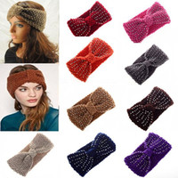 Wholesale 11 color Winter Women Knit Headband Crochet Warmer Headwrap Hairband Ear Warmer Gift CW05003