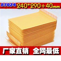 Kraft enveloppe jaune à vendre-Livraison gratuite-Le 24e enveloppe à bulles film à bulles sacs d'emballage jaune sac enveloppe à bulles kraft 240 * 290 40 mm