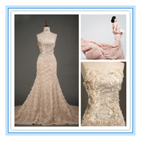 Wholesale 2016 New Arrival Sheath Wedding Dresses Deep Champagne Strapless Floral Embellished Bridal Gowns Elegant Luxury Muti Colors