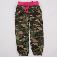 Wholesale G4335 Nova new casual pants m y baby girls camo trousers children winter clothing brushed fleece Korean style pencil pants printing pant