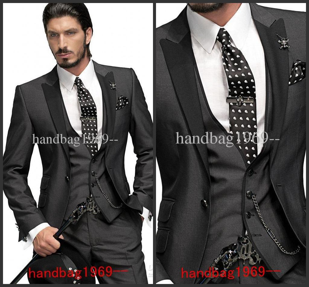 Custom Made Slim Fit One Button Charcoal Grey Groom Tuxedos Best