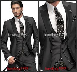 Wholesale One button Charcoal Groom Tuxedos Best Man Suits Groomsmen Men Wedding Suits Jacket Pants Vest Tie OK