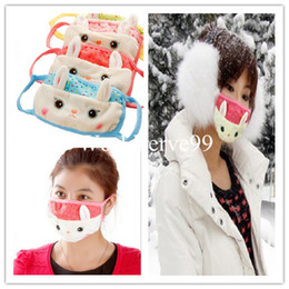 Wholesale Fashion Girls Lovely Rabbit Face Mask Cover Winter Warmer Anti dust Mouth Muffle Colors