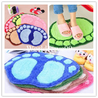 Wholesale Top Foot Prints Bath Mat Rug Footprint Shaggy Door Anti Slip Floor Pad Carpet Home Decor Colors