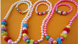 Wholesale Fashion baby girl pearl necklace bracelet set children s jewelry sets cartoon lovely pearl necklaces bracelets wristbands gift